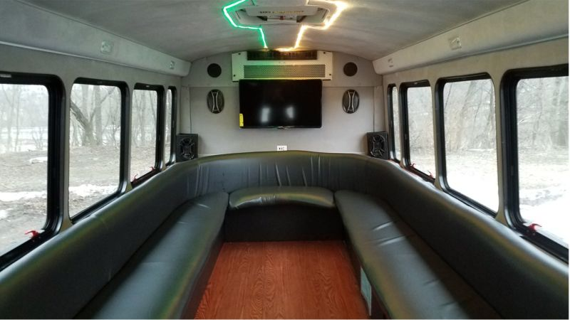 Luxury bus with green lighting