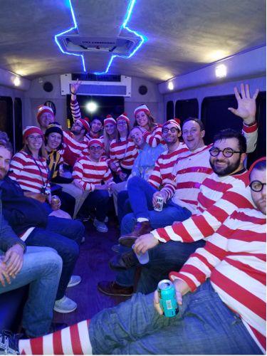 luxury bus riders as waldo